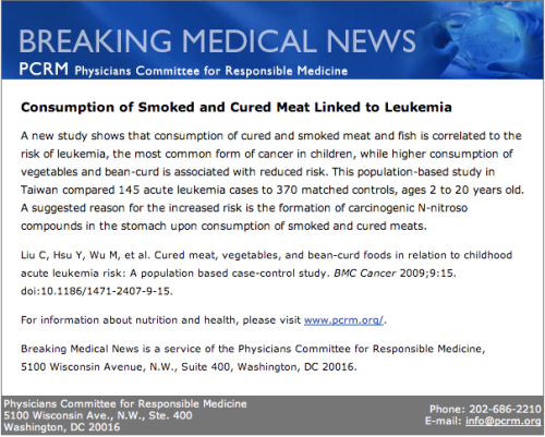 Smoked Meats and Leukemia